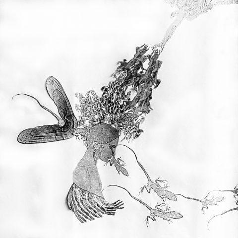 floating thoughts walking tears (1990) collage by manuela tjarkina vermeeren